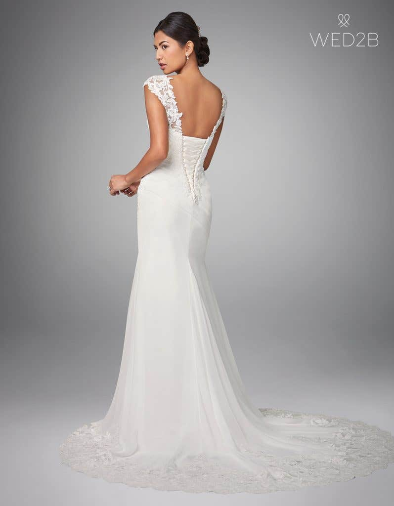 Back view of pleated wedding dress Adina by Anna Sorrano