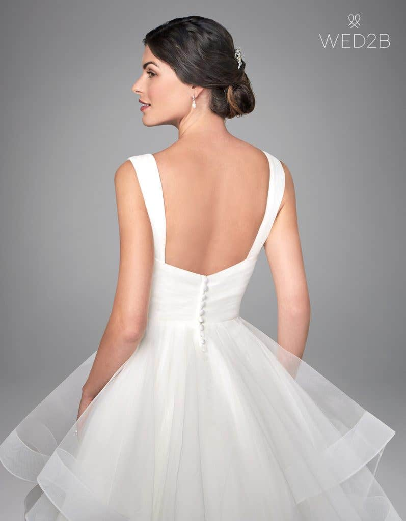 Back view of pleated wedding dress Elise by Anna Sorrano