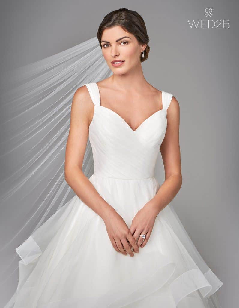 Front view of pleated wedding dress Elise by Anna Sorrano