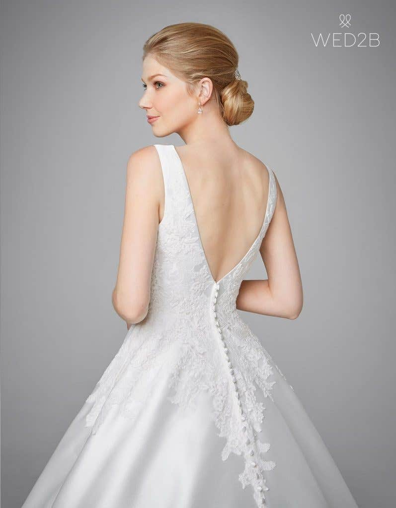 Back view of pleated wedding dress Phillipa by Anna Sorrano