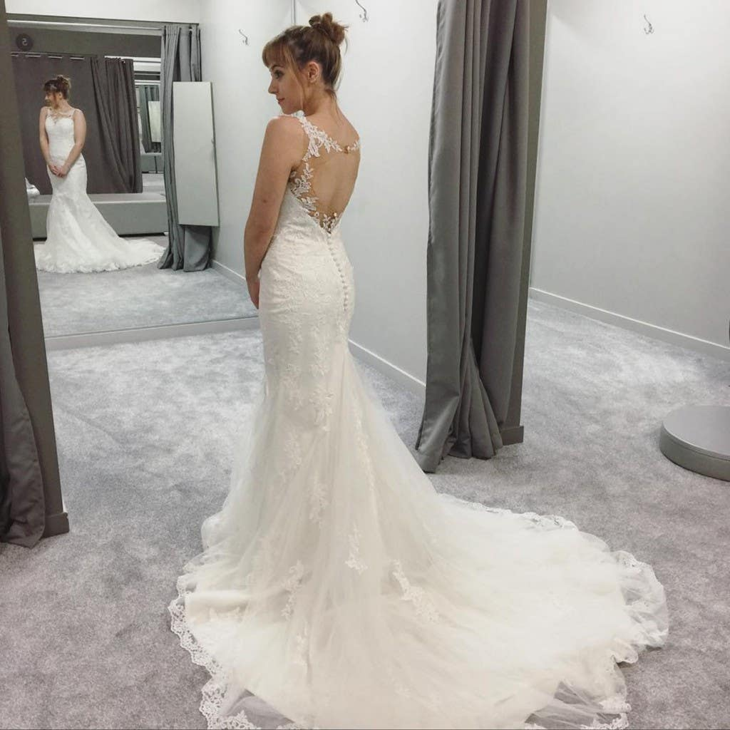try on a wedding dress in store