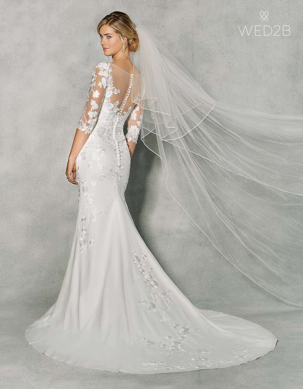 New a stunning wedding dress with sleeves by anna sorrano wed2b back view of stunning wedding dress with sleeves viola by anna sorrano junglespirit Image collections