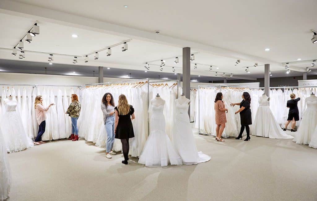 Hundreds of dresses in every shop when wedding dress shopping