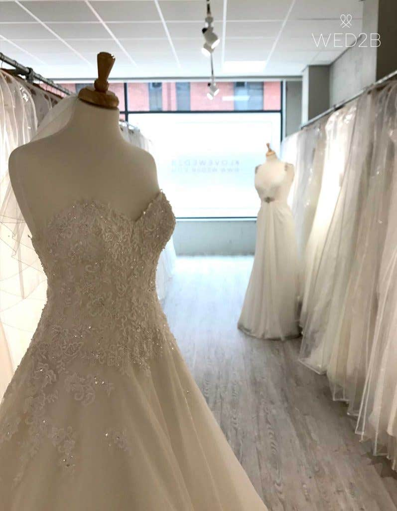 wedding dress shopping - dress rails