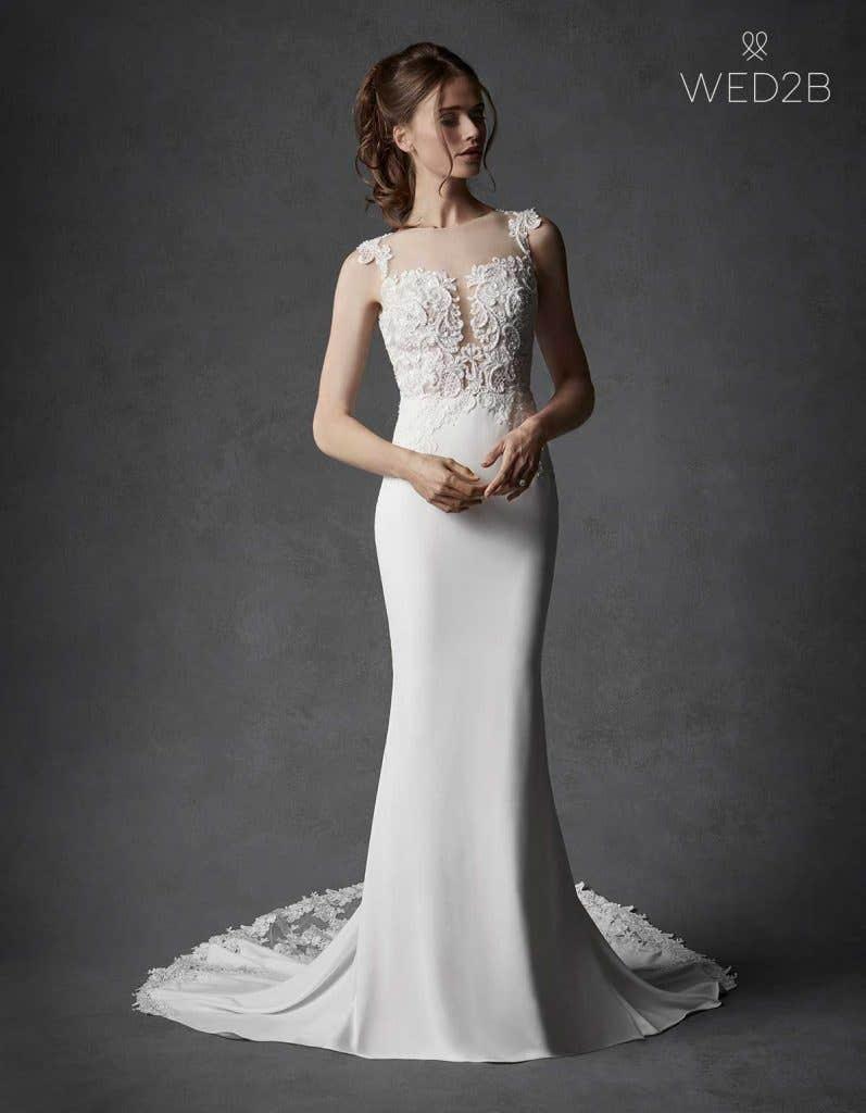 crepe wedding dresses - Galilea