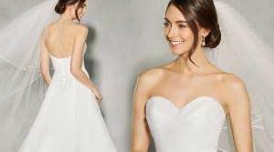 Three breathtaking strapless wedding dresses