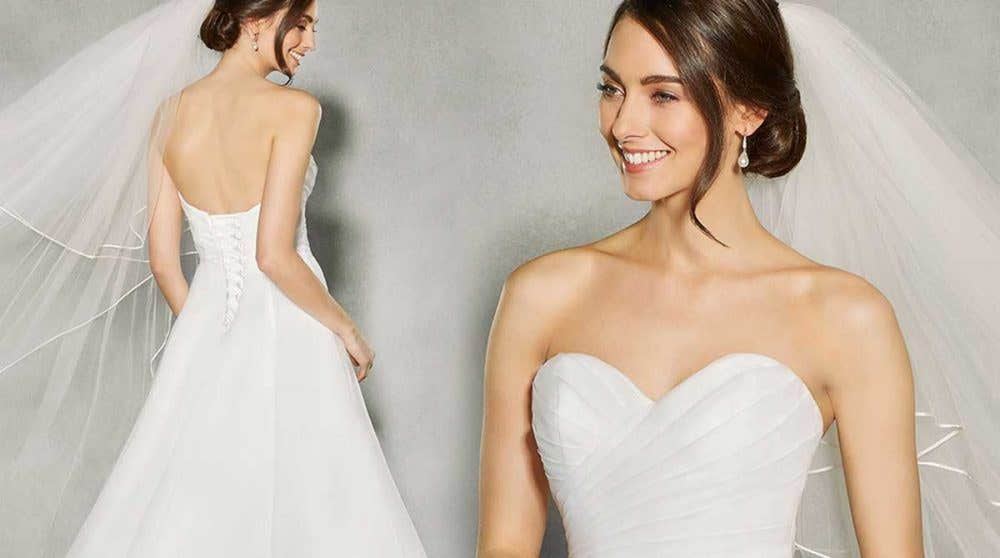 Three breathtaking strapless wedding dresses