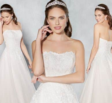 Three breathtaking lace bridal gowns…