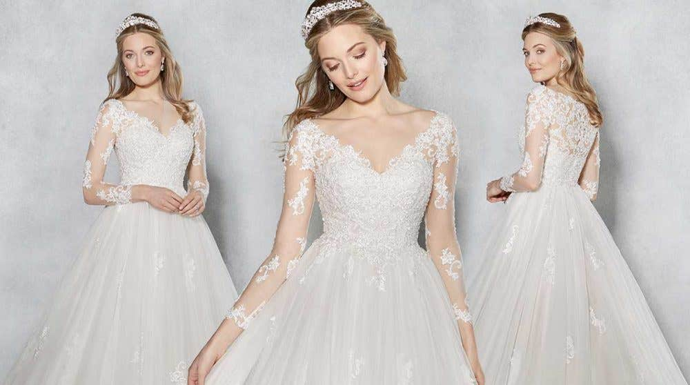 Stand out from the crowd in a striking V neck wedding dress