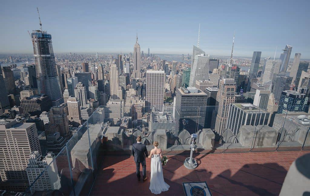 Joanna and Karl overlooking New York for their American Wedding