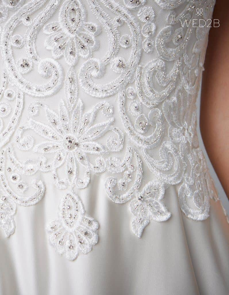 Detailed view of Dawson in oyster, a princess wedding dress