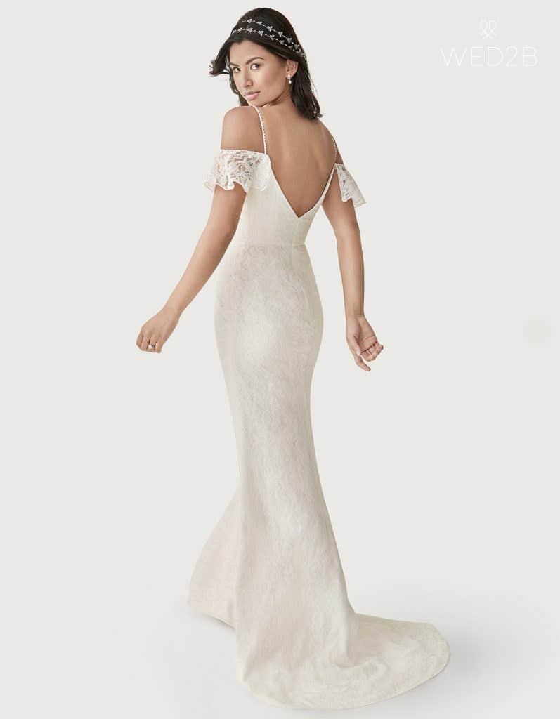 Back view of Dylan a boho wedding dress