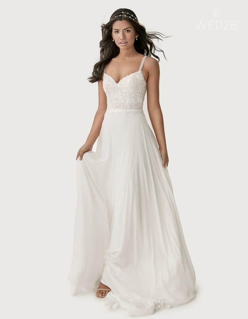Front view of Lark a boho wedding dress