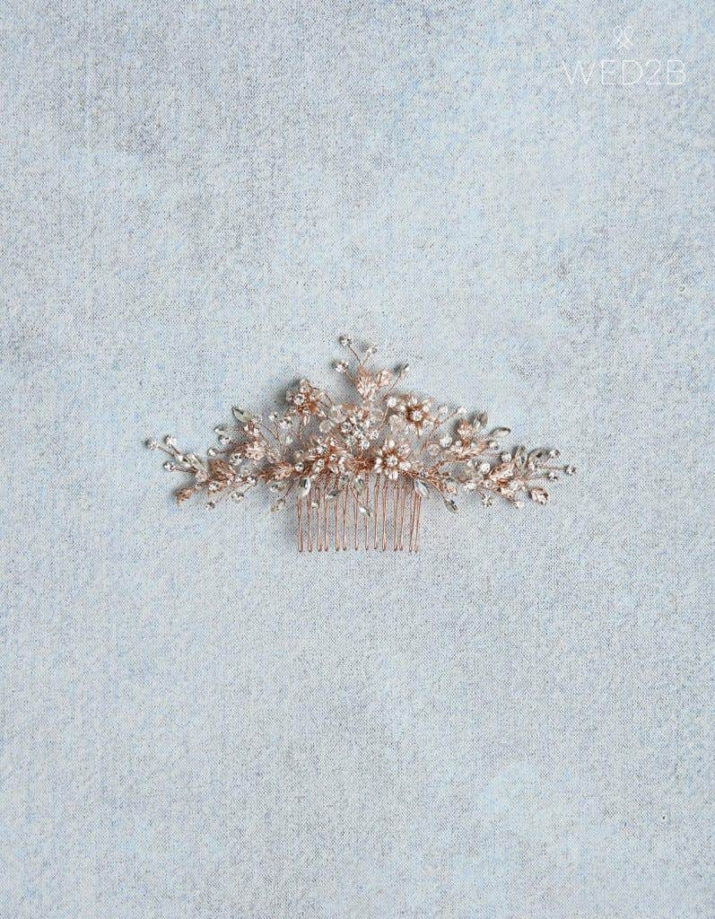 Rose gold Lorelei hair comb - bridal hair accessories