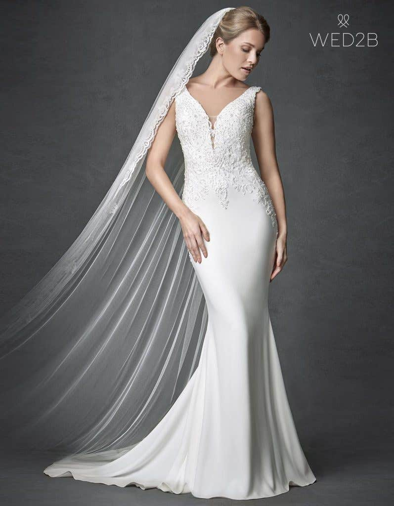 Front shot of Odyssey, a sexy wedding dress