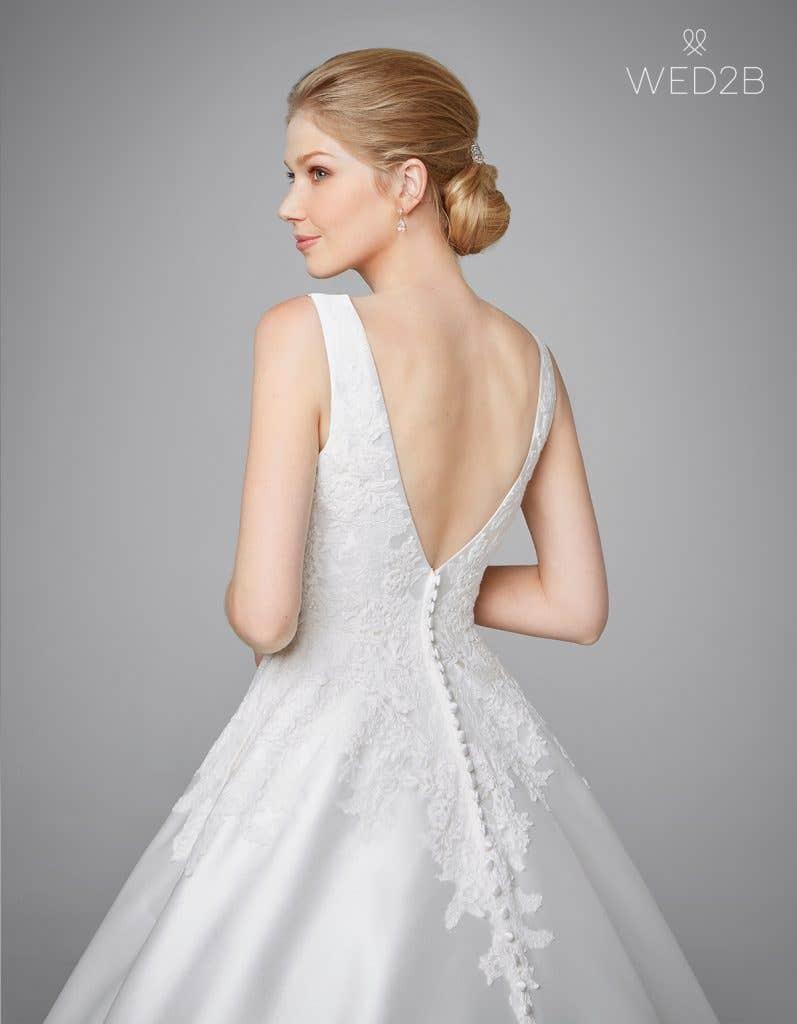 Close-up back view of Phillipa, a princess wedding dress