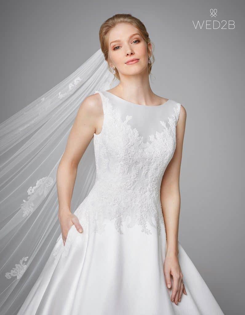 Close-up front view of Phillipa, a princess wedding dress