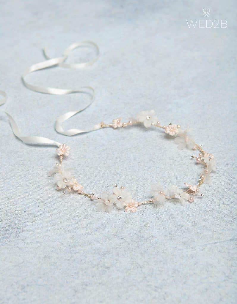 Gold Sophie flowergirl hair halo- bridal hair accessories