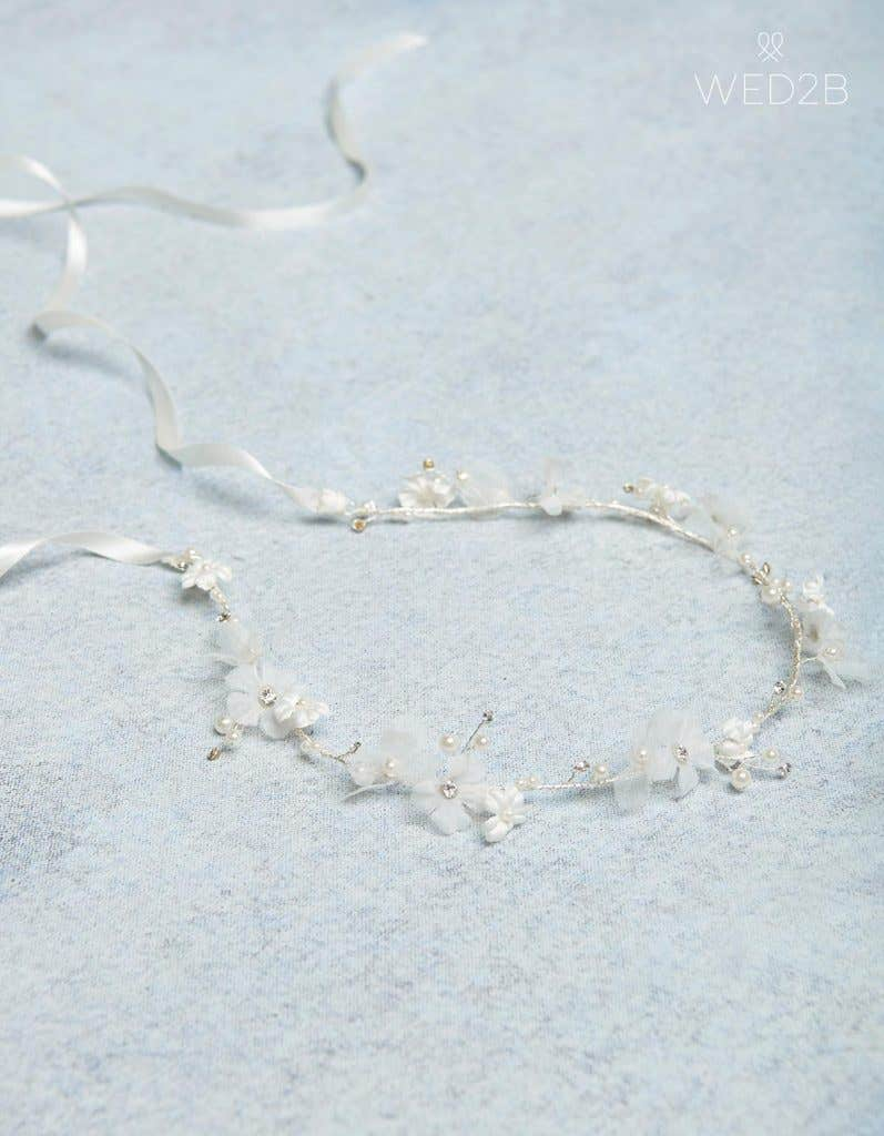 Silver Sophie flowergirl hair halo - bridal hair accessories