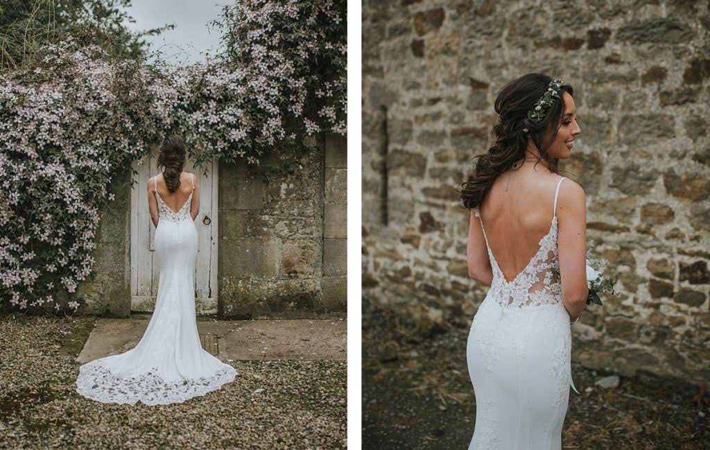 DIY bride Elizabeth back shots of her Signature Collection gown Hayden