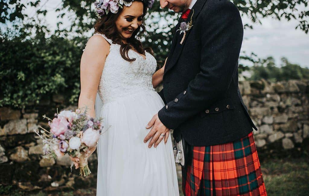 Victoria and Stuart at their outdoor wedding
