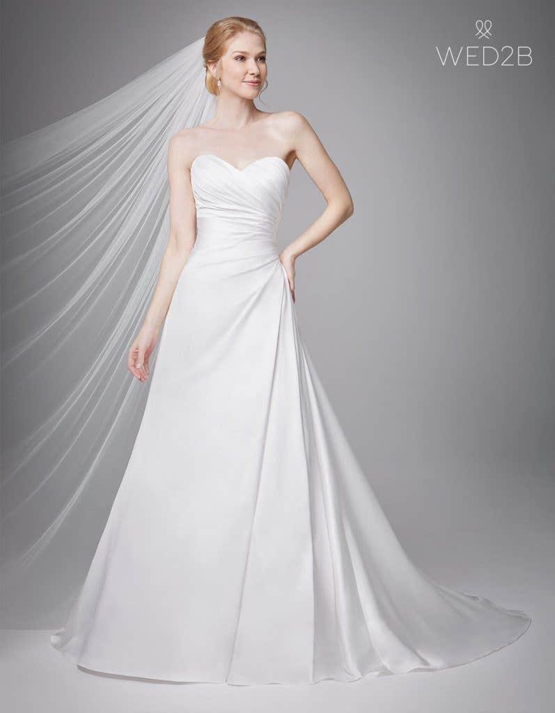 Full front shot of bridal dresses Clare