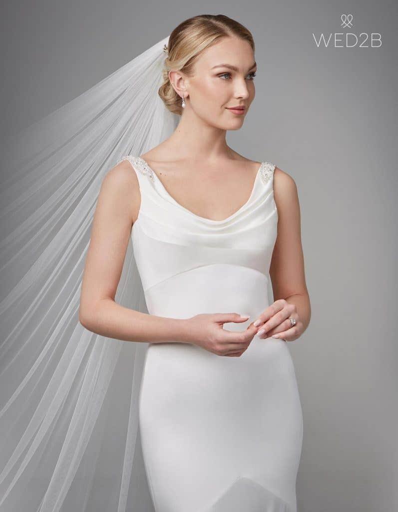 Close-up front shot of bridal dresses Sorcha