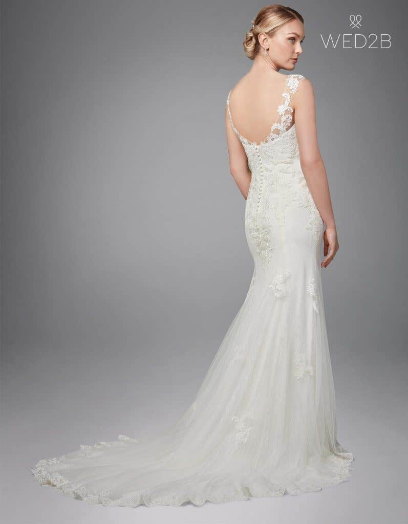 Back view of Andrea, a button back wedding dress