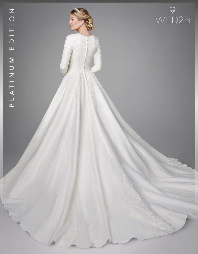 Back view of Antoinette, a button back wedding dress