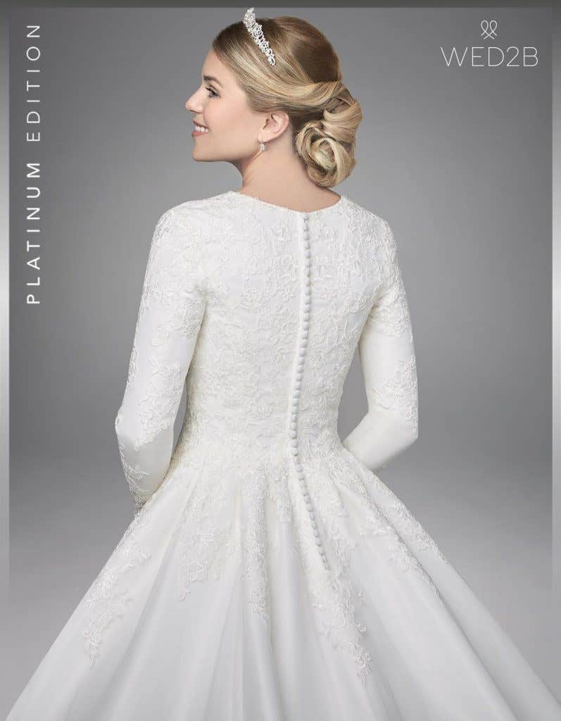 Close-up back view of Antoinette, a button back wedding dress
