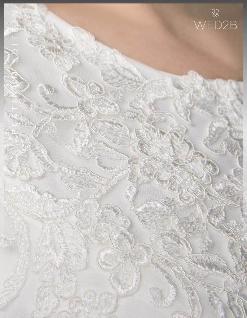 Detailed view of Antoinette, a button back wedding dress