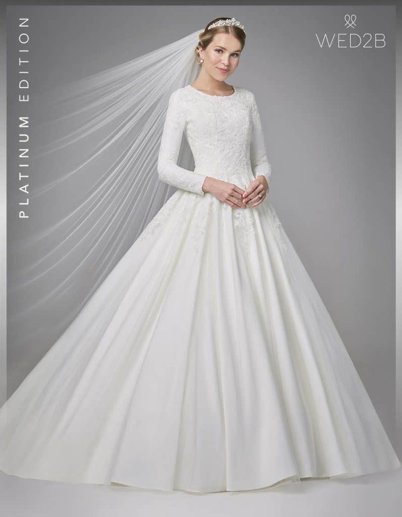 Front view of Antoinette, a button back wedding dress