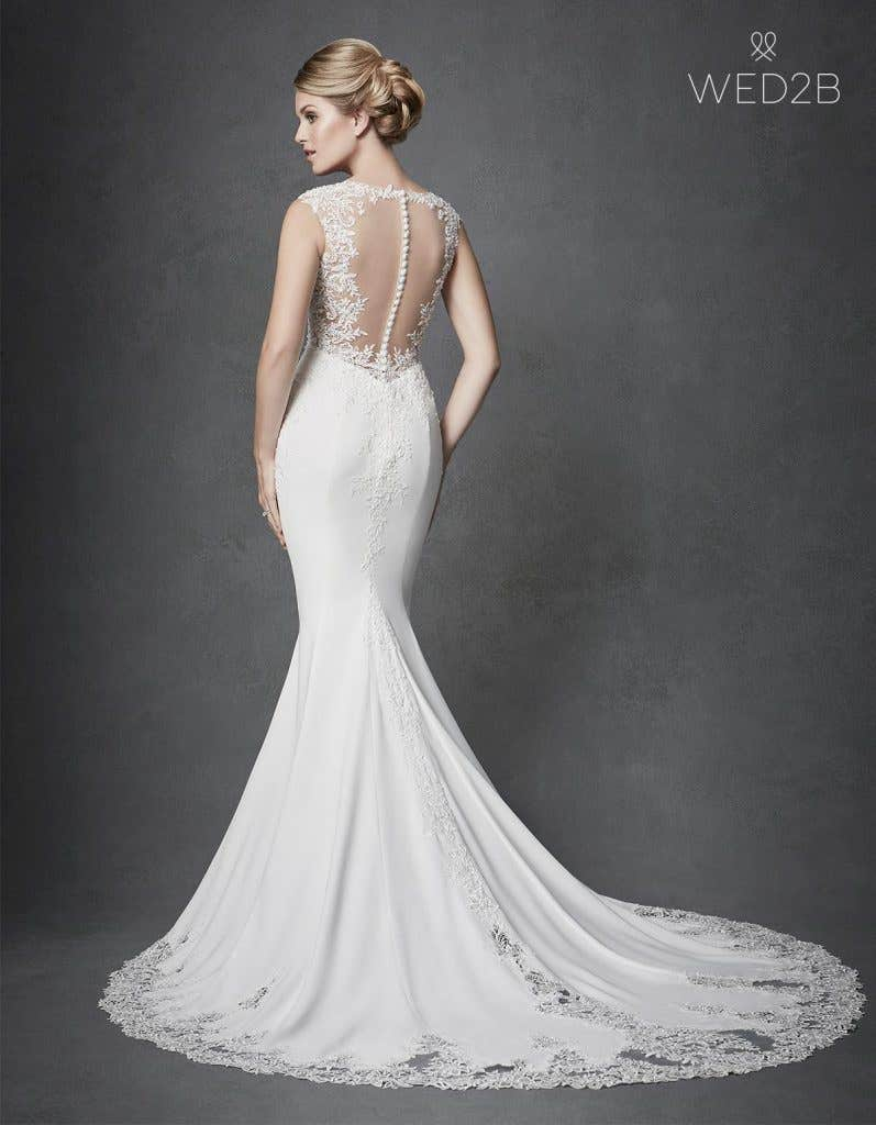 Full back view of Archer, a unique wedding dress