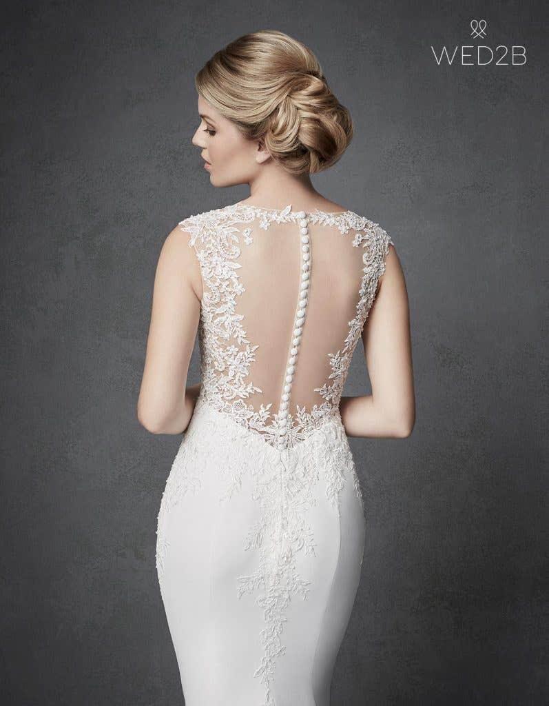 Close-up back view of Archer, a unique wedding dress