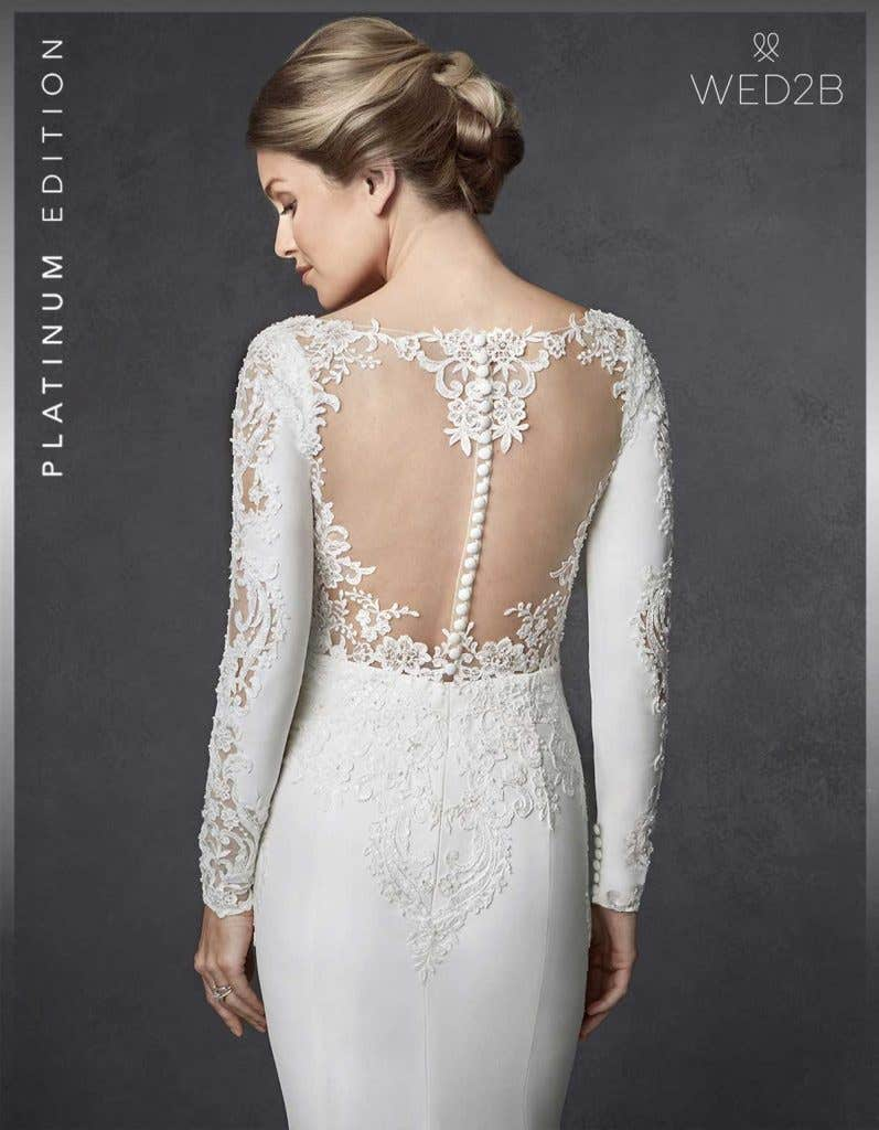 Close-up back view of lace wedding dress Athens