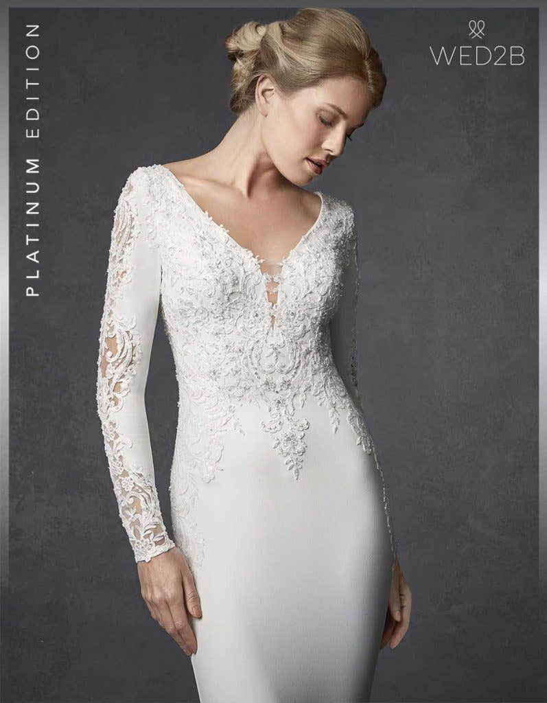 Close-up front view of lace wedding dress Athens