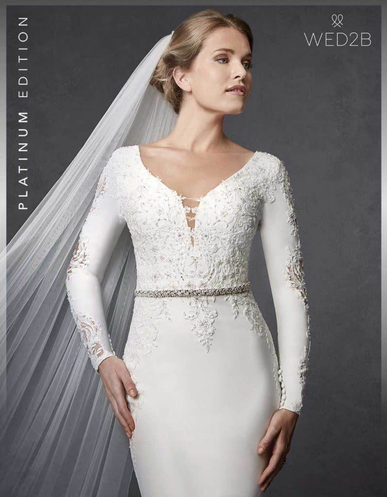 Close-up front view of lace wedding dress Athens with bridal belt Solstice
