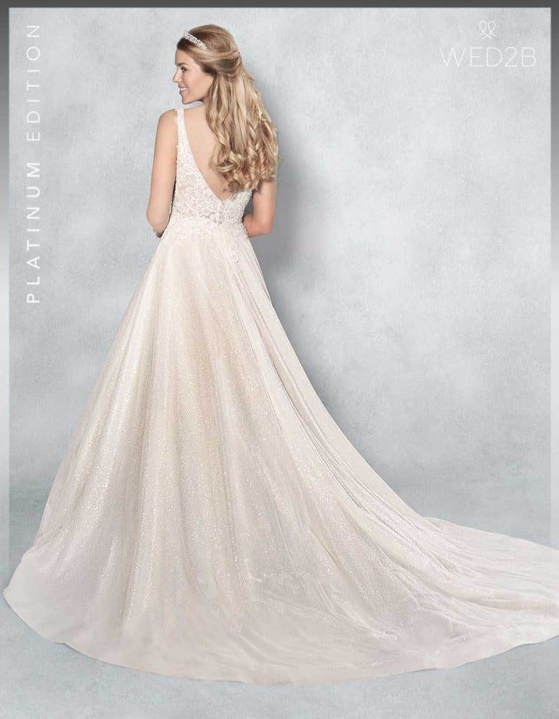 Back view of lace wedding dress Lazara