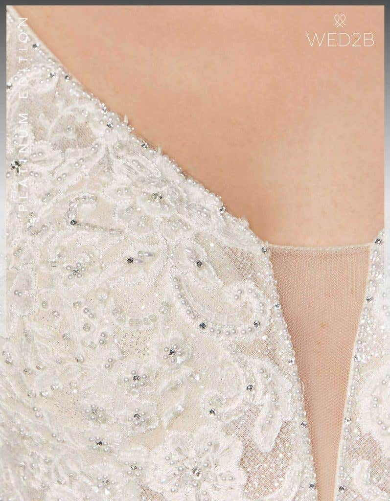 Detailed view of lace wedding dress Lazara