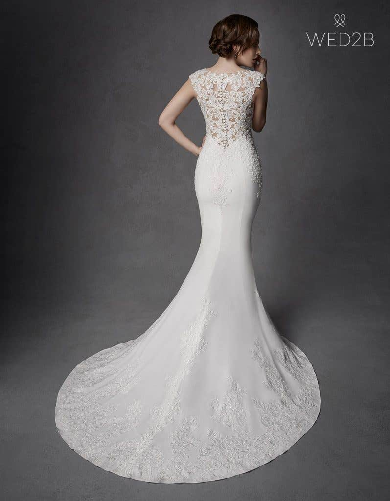 Full back view of Phoenix, a unique wedding dress