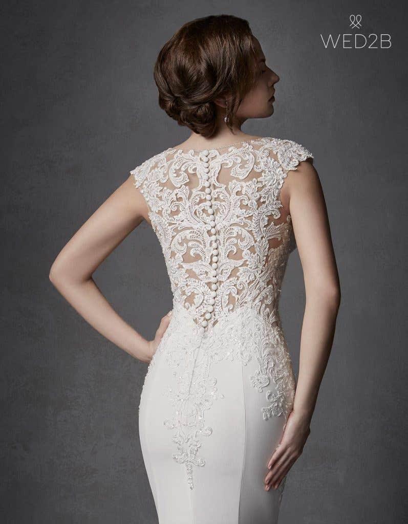 Close-up back view of Phoenix, a unique wedding dress