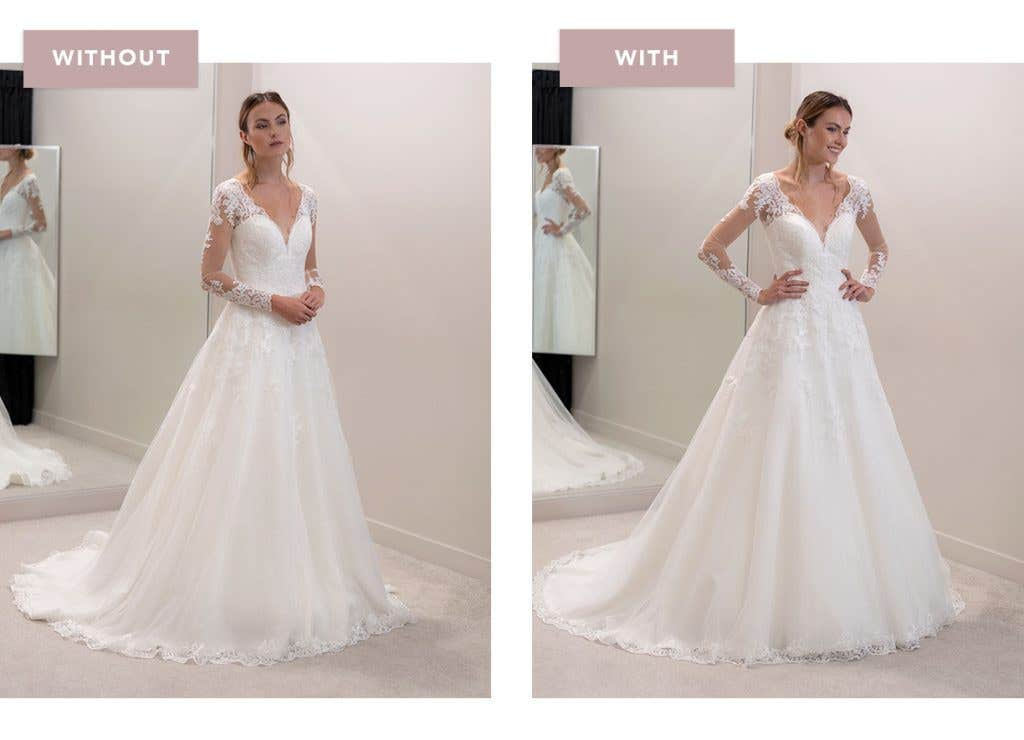 Caterina aline wedding dress with and without an underskirt