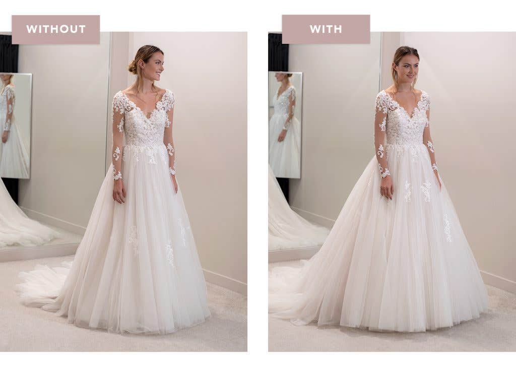 Keeley ballgown wedding dress with and without an underskirt