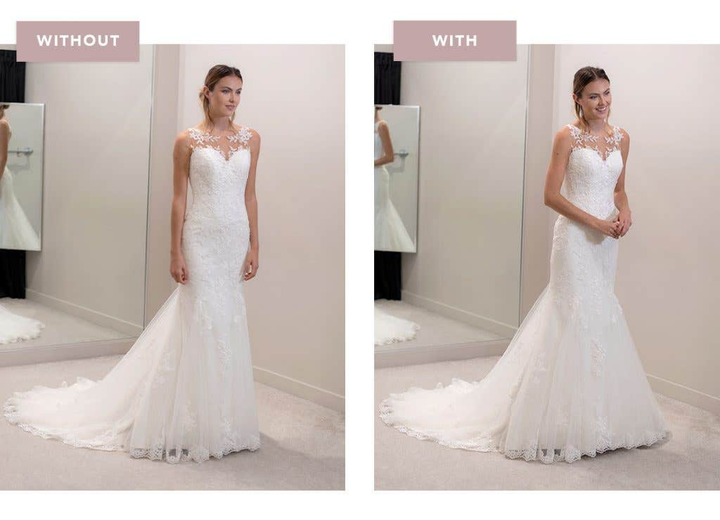 Megan fishtail wedding dress with and without an underskirt