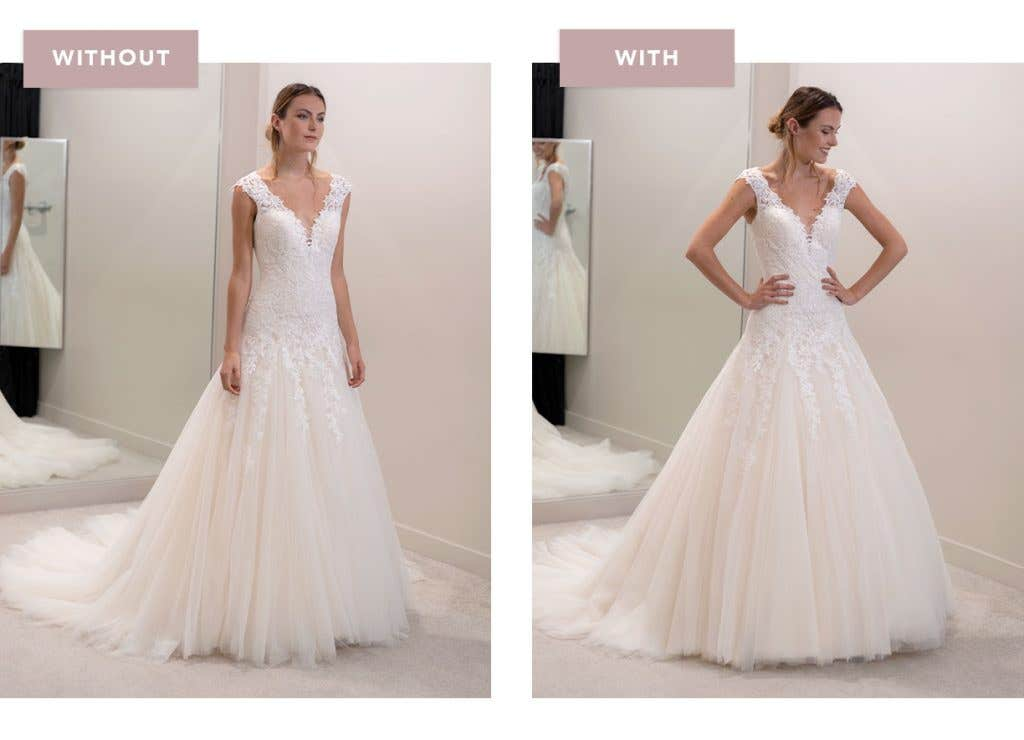 Jamie fit and flare wedding dress with and without an underskirt