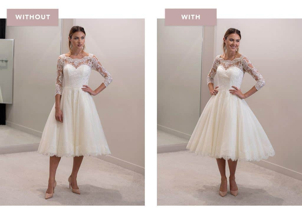 Abilene short wedding dress with and without an underskirt