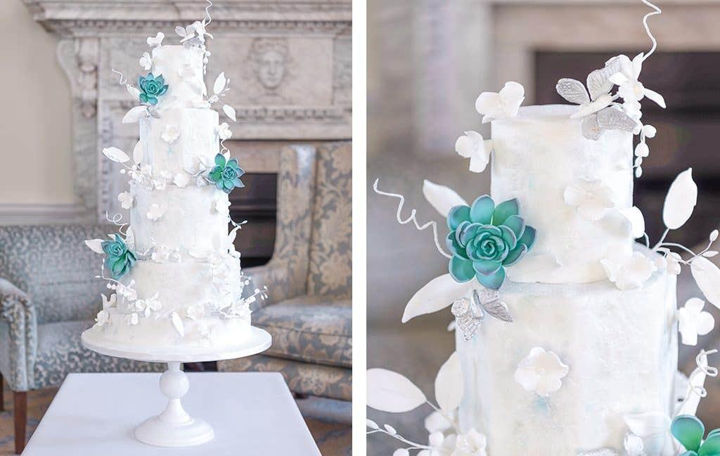 A wedding cake for a winter wedding