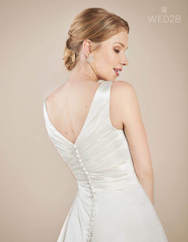 Back crop view of wedding dress with straps Emery