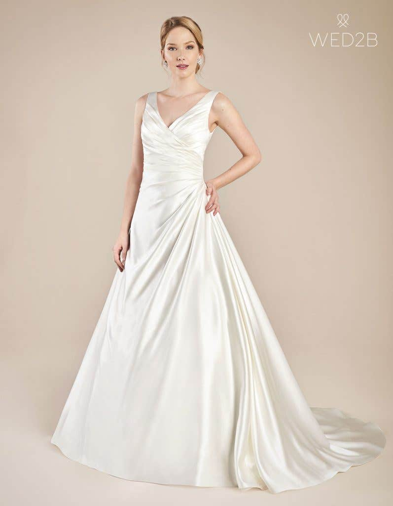 Front view of wedding dress with straps Emery