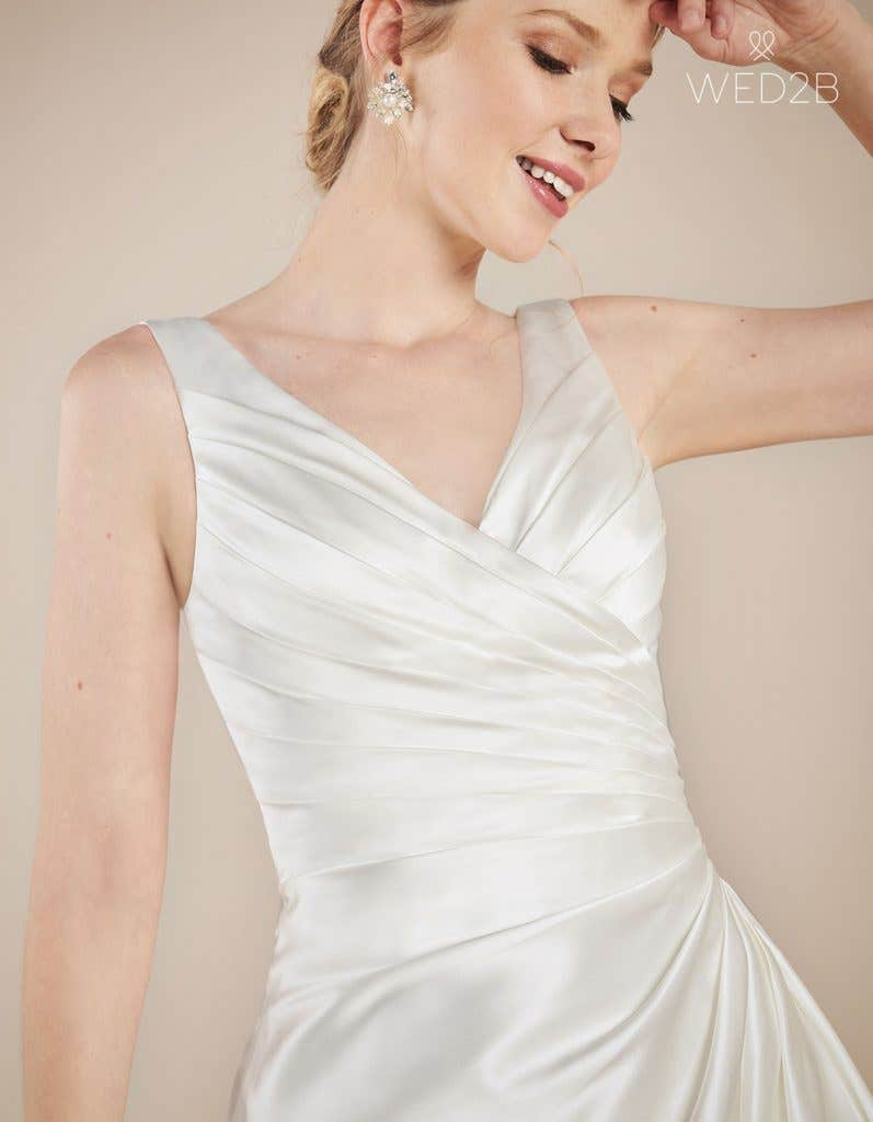 Front crop view of wedding dress with straps Emery